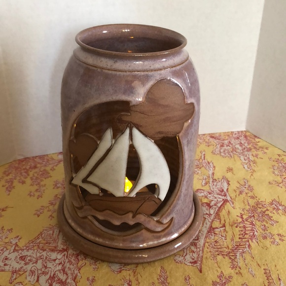 Vintage candle holder pottery Sailboat clouds